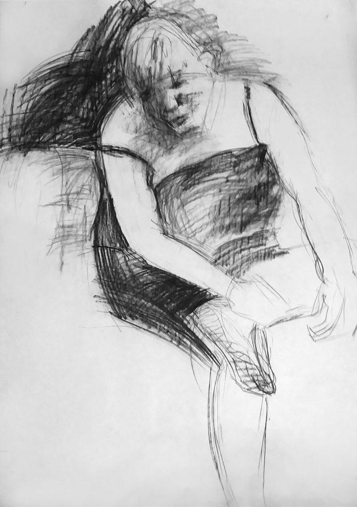 """""""siedząca"""" - rysunek węglem"""
