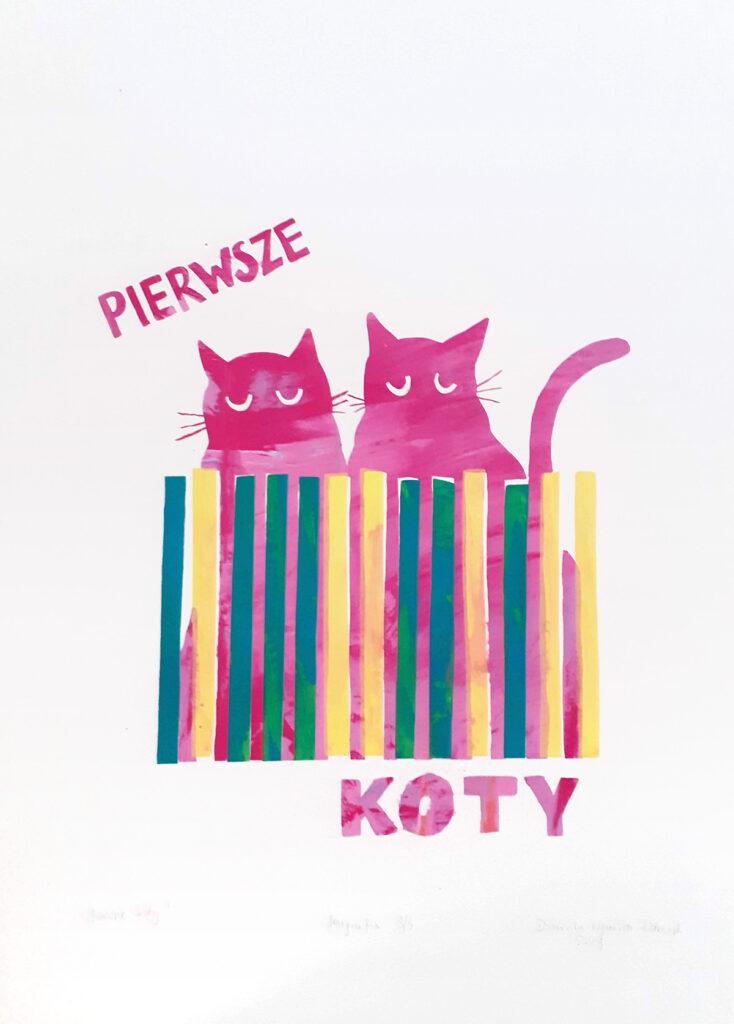 Dwa różowe koty siedzą za kolorowym płotem