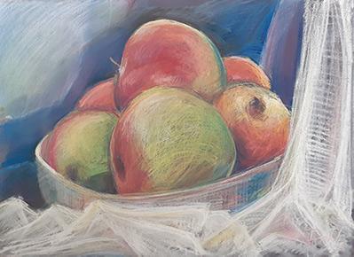 Martwa natura przedstawiająca jabłka w misce.