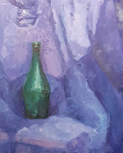 """Obraz olejny """"Tylko butelka"""""""